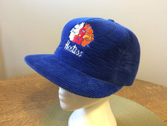 Vintage Trucker Hat Hostess Chips with the Monsters on Royal Blue Corduroy with Snap Back and foam inside