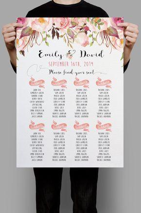 Personalizada boda estar tabla tabla estar imprimible mesa florales Floral rosa un plan, archivos digitales Boho boda decoración DIY - PF-18