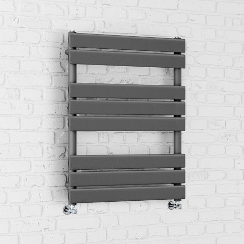 800x600mm Anthracite Flat Panel Ladder Towel Radiator - Francis [PT-RA800600] - £149.99 : Platinum Taps & Bathrooms