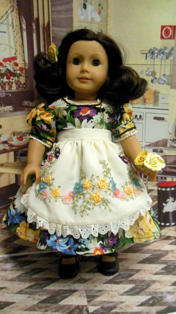 Historical American girl doll clothes Flowers in by TheDollyDama, $30.00