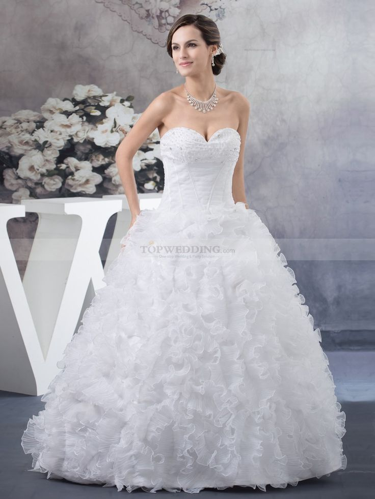 Sweetheart Organza and Satin Ball Gown with Allover Ruffle Skirt