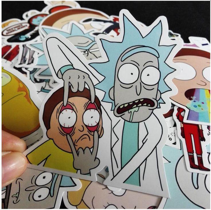 35 Unids/lote Rick y Morty Pegatina Pegatinas Juguetes de Figuras de Morty Ricky Sánchez Smith Para El Tronco de Bicicleta Portátil Notebook Pegatinas