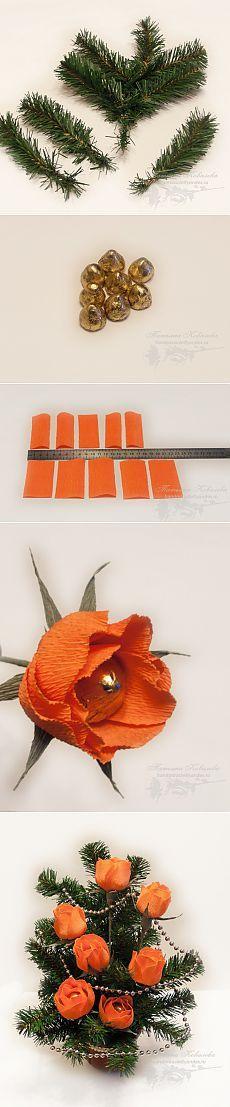(+1) сообщ - Новогодний букет из конфет | Очумелые ручки