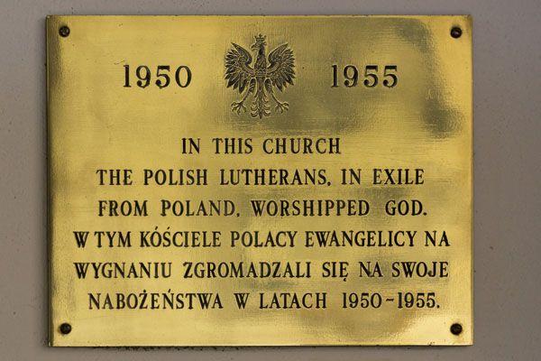 Polish exiles brass tablet at Thursley Parish Church (copyright Sean Edwards)