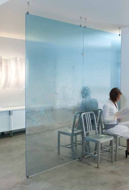 Subtle Mirror Graphics plays with reflection and transparency with echoing effect in this application  #design #interiors #3form #ecoresin #metallic #mirror #partitions