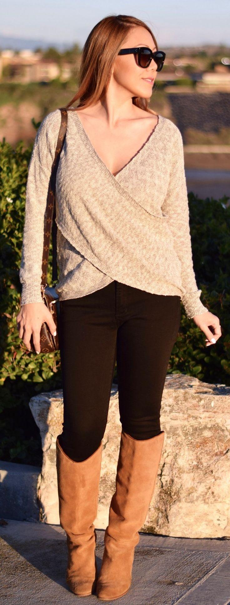 Beige Wrap Knit / Black Skinny Jeans / Brown Boots Source