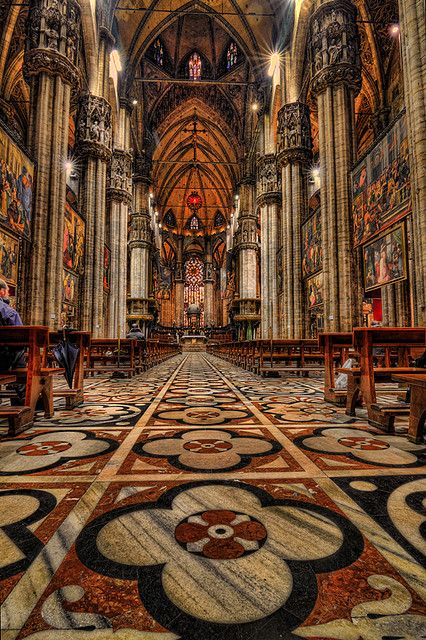 Beautiful marble floor of Duomo di Milano, Lombardy, Italy.