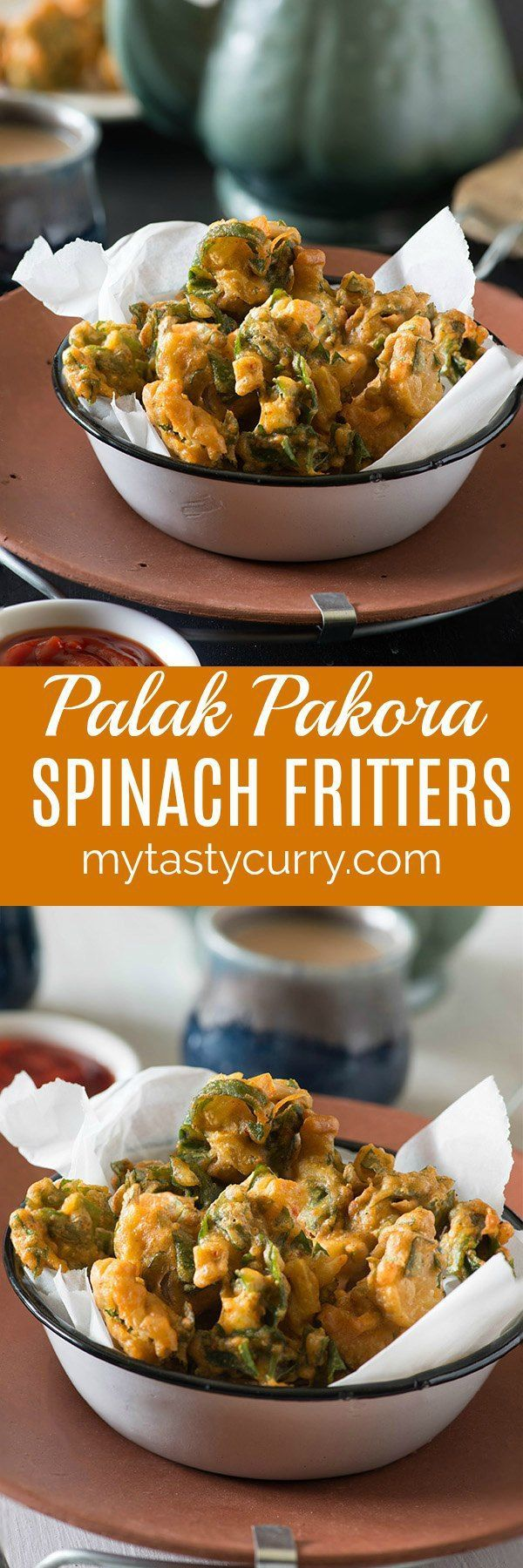 A quick Indian snack recipe relished most in monsoons palak pakora are easy to make quick and easy Indian appetiser recipe. Palak Pakoda are crisp fritters made with spinach leaves in gram flour batter.