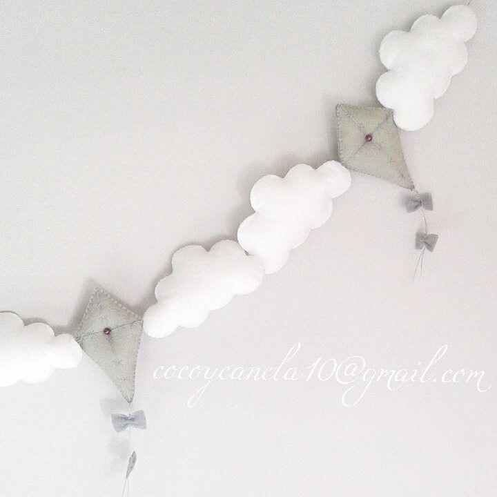 https://facebook.com/cocoycanela.com felt cloud and kite garland enfeite