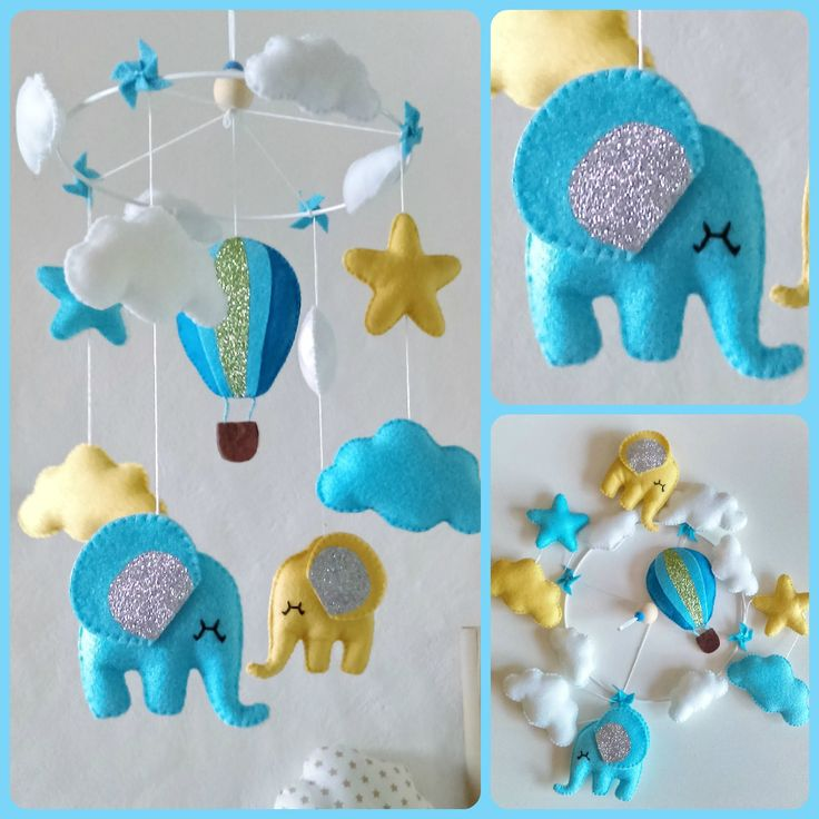 Hot Air >> Baby crib mobile for room decoration. Hot air balloon stars clouds éléphants . Ideal gift for ...