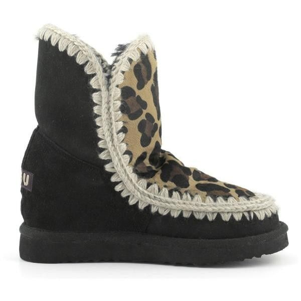 MOU Eskimo Wedge Short Boots Black/Front Leopard Choco - MOU (325€→245€) #BlackFridayDeals #Thanksgivingday #Christmas