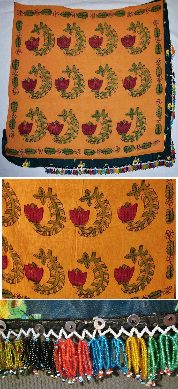 Large 'yazma' (headscarf) for women.  From the Dinar district (Afyon province), 1925-1950.  Block-printed floral design on cotton; one half of it is edged with small glass pearls. (Inv.nr. yaz074  - Kavak Costume Collection-Antwerpen/Belgium).