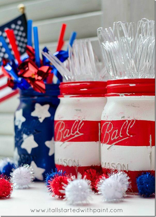 Mason jar flags red white blue