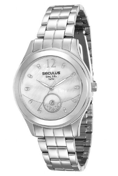 23522L0SVNA2 Relógio Feminino Prateado Seculus Long Life | Guest Club