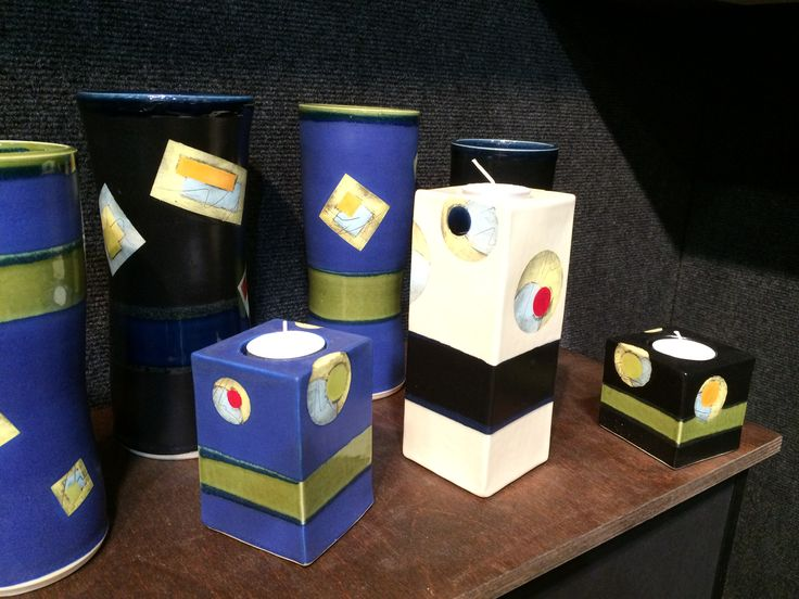 Tea light candle pillars by Dave Parry, Whistle Post Pottery