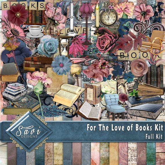 Digital Scrapbooking Kit FOR THE LOVE of Books by SaviByDesign