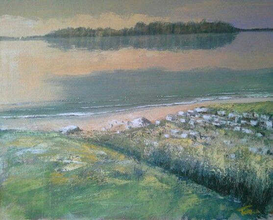 Pace sul lago 80x100 cm acrilico su tela Luigi Torre painter 2016