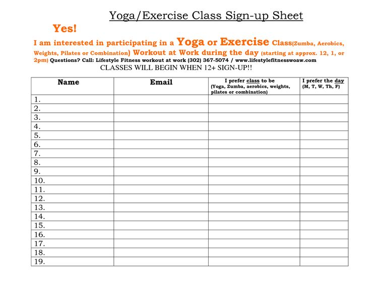 fitness sign up sheet