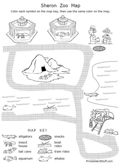 FREE 2-page worksheet packet -- Introduction to Map Key for beginning map skills learners