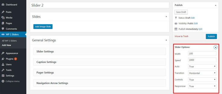 Slider Options - Free WordPress Slider Plugin WP1 Slider