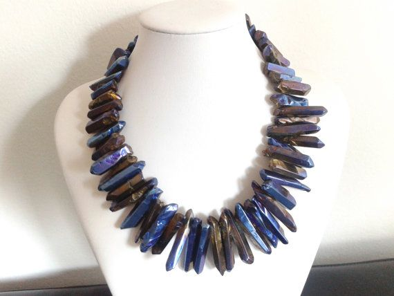 crystal stick plated metallic crystal handmade necklace