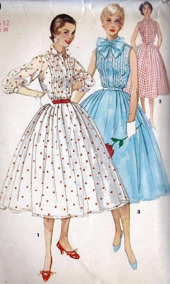 Cartamodello anni 50 manca Shirtwaist estate di MissBettysAttic