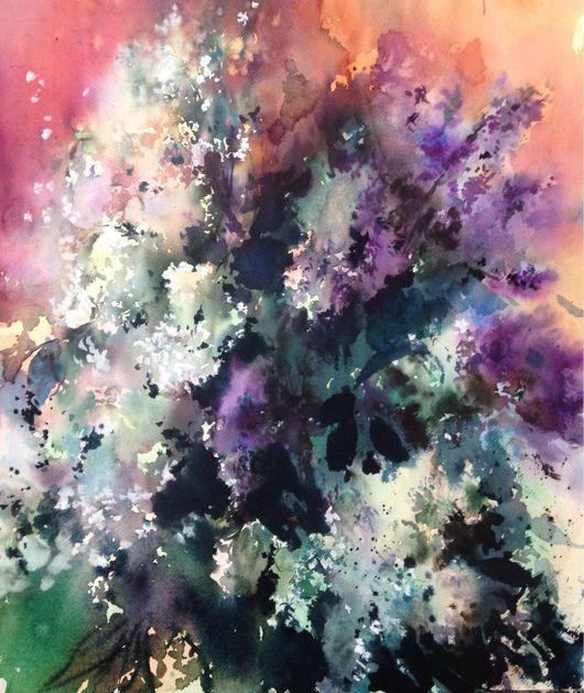 Картины цветов ручной работы. Ярмарка Мастеров - ручная работа. Купить Акварель Сирень(2). Handmade. Сирень, акварель, весна, цветение
