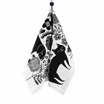ake turns displaying the purring kitty or playful puppy depending on your mood; each one is bound to bring a smile to your face. Lapuan Kankurit Koira Ja Kissa Black Tea Towel - $27