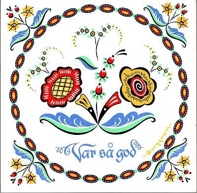 """Scandinavian Trivet Tile """"VAR SA GOD!"""" Swedish Flower 6"""" X 6"""" Cork backing"""