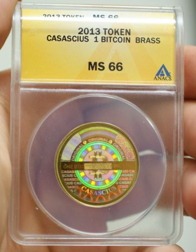 2013 ANACS MS-66 1 BTC Casascius Physical Bitcoin Fully Funded & Graded Coin