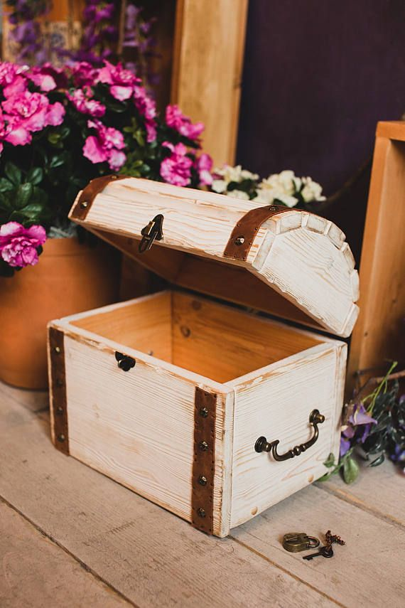 Wood Trunk Storage Box With Lid Jewelry Rustic Living Kids