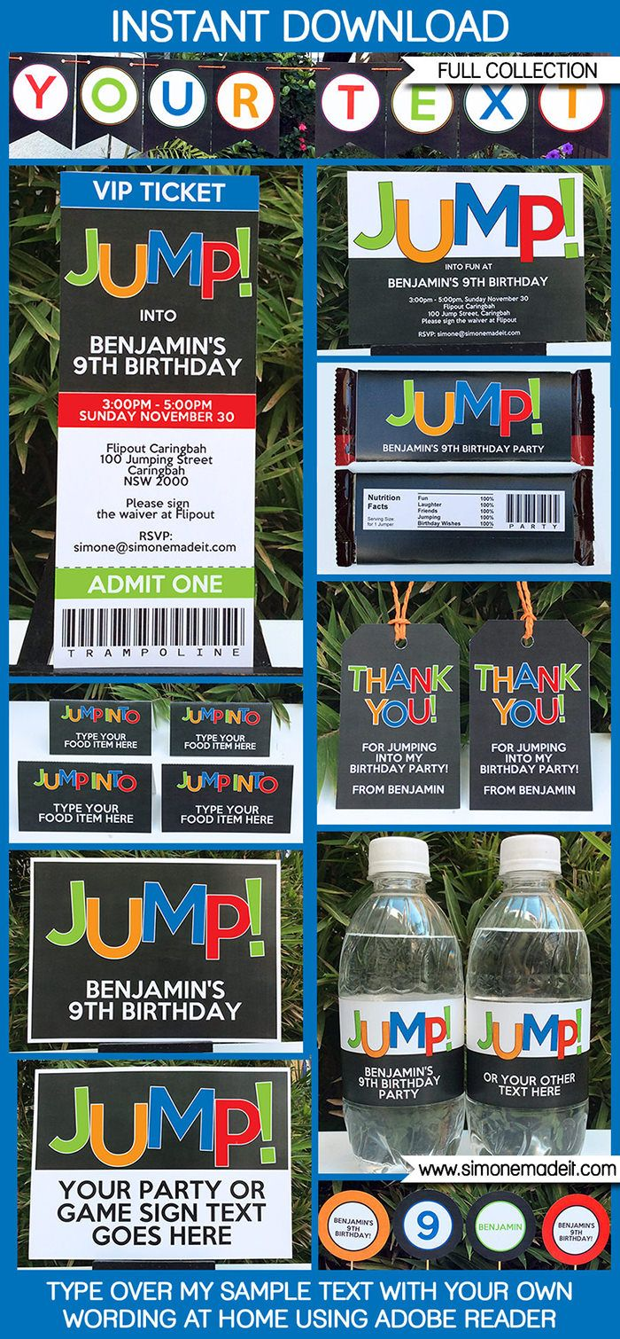 Trampoline Party Printables, Invitations & Decorations | Editable Birthday Party Theme templates | INSTANT DOWNLOAD $12.50 via SIMONEmadeit.com