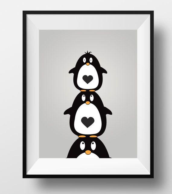 Penguin print animal nursery print penguin by DesignsByLittlePitti