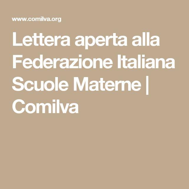 Lettera aperta alla Federazione Italiana Scuole Materne | Comilva