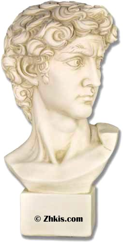 Bust of Michelangelo's David. This is the famous David from the Bible who killed Goliath. The bust is made from durable fiberglass and has several finish options