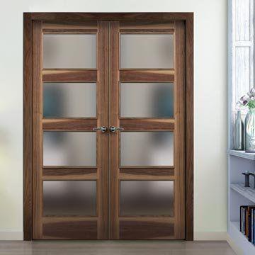 Sanrafael Lisa Glazed Double Door - L60VA4 Prefinished Grained Walnut. #walnutglazeddoors #walnutdoors #internaldoubledoors