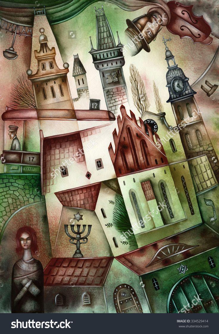 Jewish Town Illustration by Eugene Ivanov. #eugeneivanov #klezmer #musician #jewish #jew #@eugene_1_ivanov