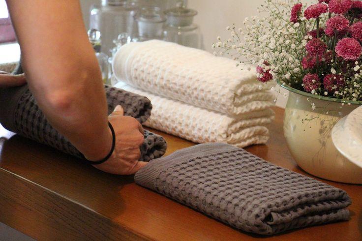 Waffle bath towels. 100% cotton.