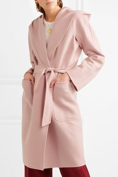 d51d000ab583cc Max Mara - Hooded Wool And Cashmere-blend Coat - Pastel pink