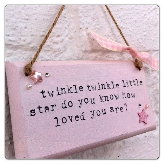 Twinkle twinkle little star nursery baby quote shabby chic plaque / wall hanging