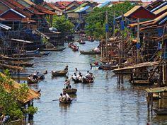 Kompong Khleang village on the Tonle Sap lake, Cambodia  #SiemReap #Cambodia #floatinghouse