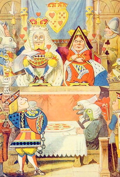 John Tenniel:The Trial of the Knave of Hearts, illustration from Alice in Wonderland by Lewis Carroll 1832-9