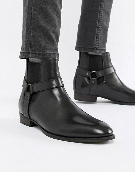d9fa4f7d087 River Island western chelsea boots with stacked heel in black in ...