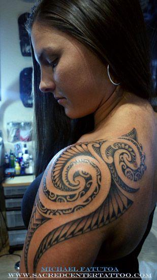 Female Shoulder Tribal Tahiti Samoan Maori Tattoo