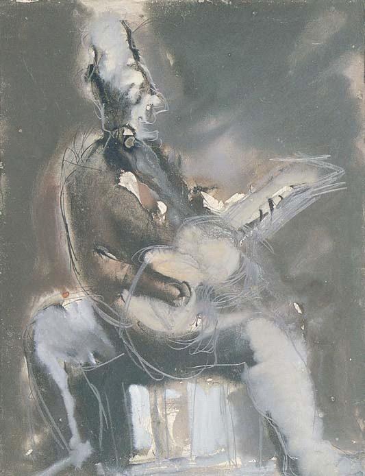 Mario Sironi (1885-1961), Chitarrista, anni '50, tempera su carta, 49 x 37 cm (Collezione privata)