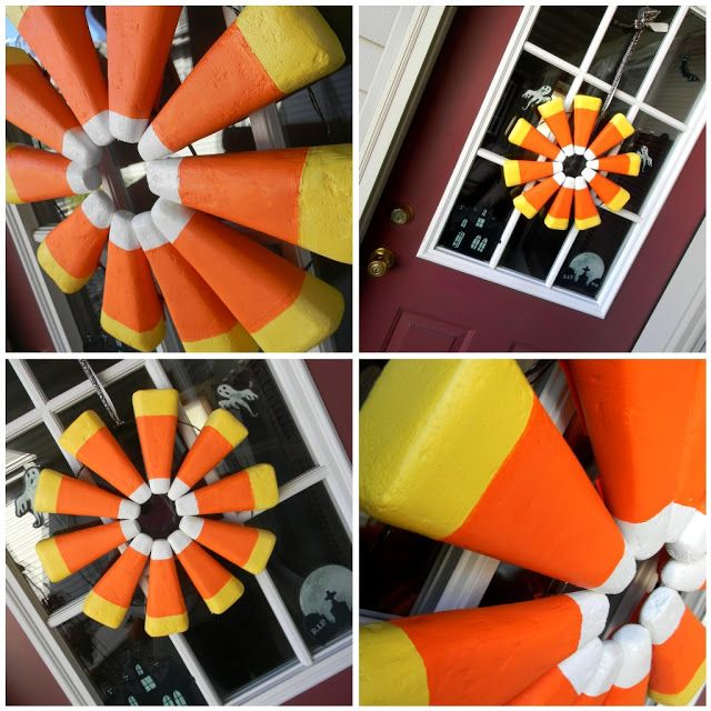 Diy Candy Corn Wreath... Made with Styrofoam cones. | Halloween | DIY Project www.williamsburgpottery.com
