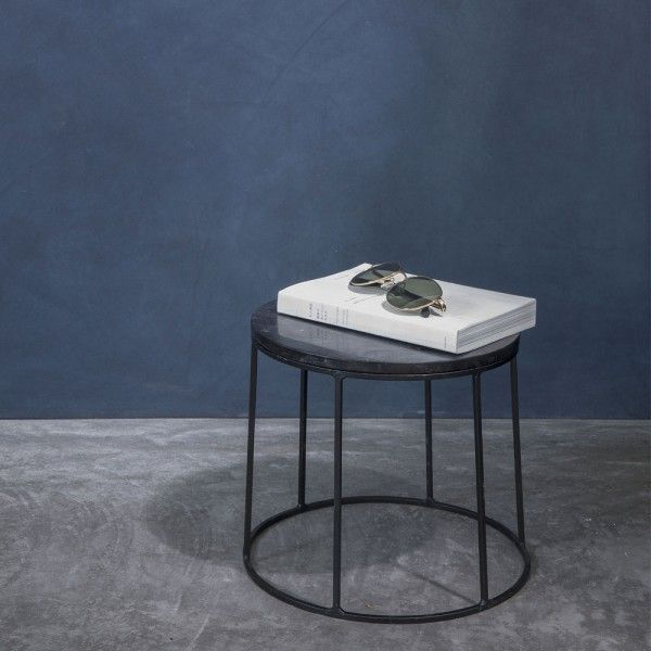 Wire table top marble black