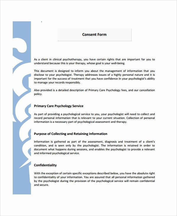 Consent To Treat Form Template In 2020 Consent Forms Psychology