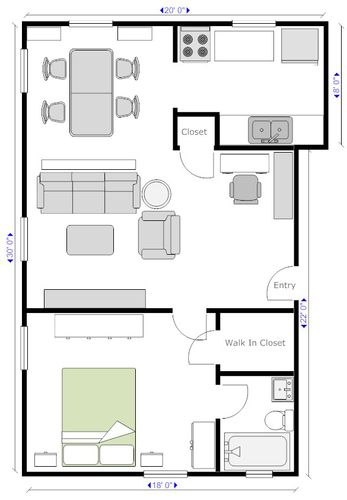 Make It 20x30 600 Sq Ft Bedroom Into Bed Nook Laundry