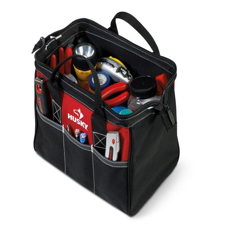 Husky 12 in. Tool Bag, Red And Black